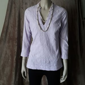 Vineyard Vines Lavender 100% Cotton 3/4 Sleeve Top